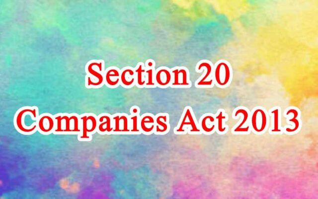 Section 20 of Companies Act in Hindi