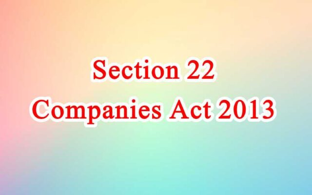 Section 22 of Companies Act in Hindi
