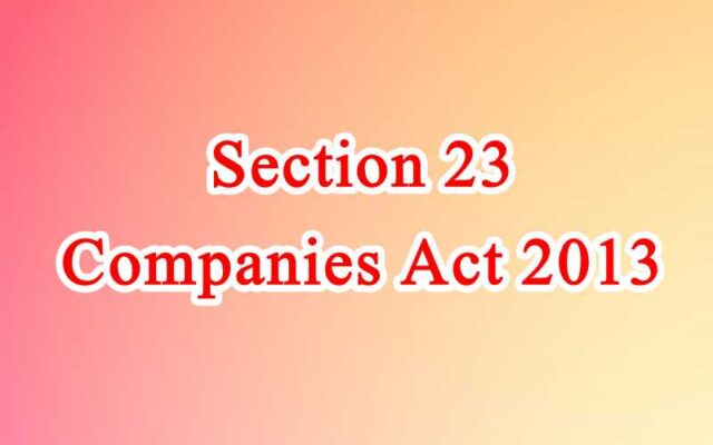 Section 23 of Companies Act in Hindi