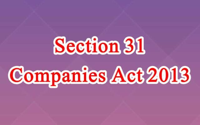 Section 31 of Companies Act in Hindi