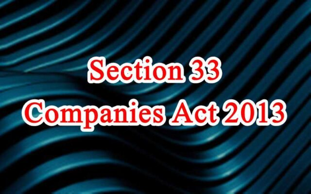 Section 33 of Companies Act in Hindi