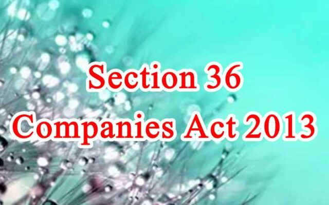 Section 36 of Companies Act in Hindi