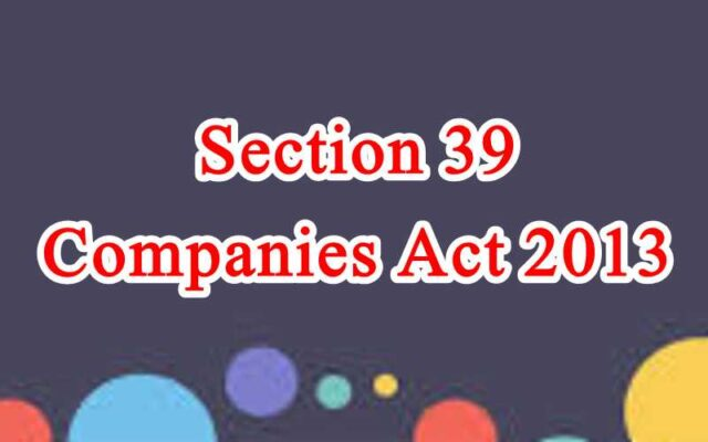 Section 39 of Companies Act in Hindi