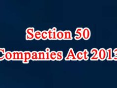 Section 50 of Companies Act in Hindi