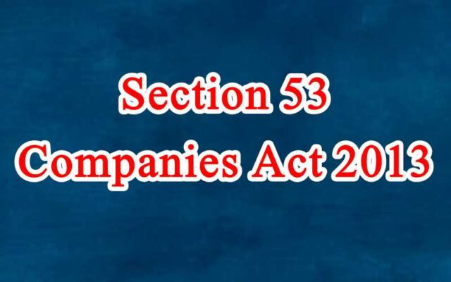 Section 53 of Companies Act in Hindi