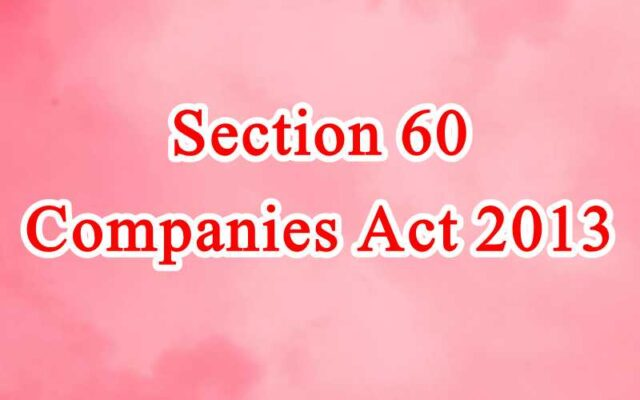 Section 60 of Companies Act in Hindi