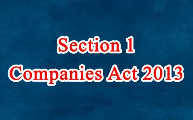 Section 1 of Companies Act